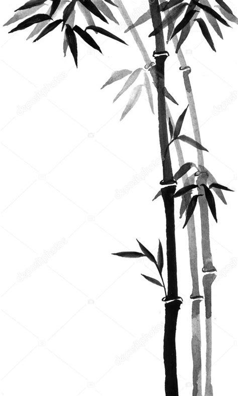 Tinta de bambu em estilo tradicional de pintura japonesa