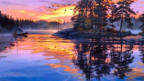 painting twilight painting twilight scenery lake forest birds