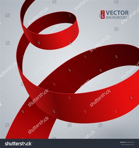 grey ribbon wallpaper red fabric curved ribbon on grey stock vector 209346733