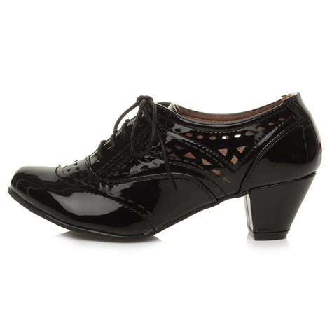 womans shoe boots womens block mid heel lace up cut out brogue