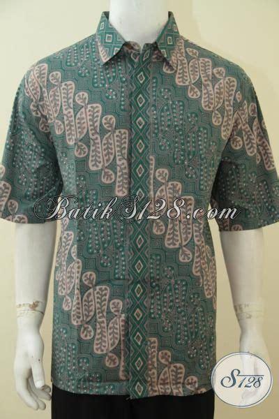 Baju Hem Formal baju hem batik hijau kalem lengan pendek batik formal size jumbo berbahan halus sesuai untuk