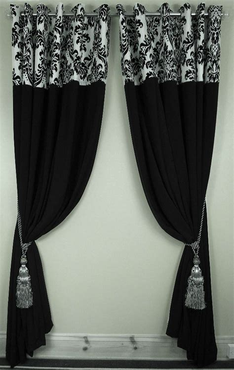 Black And Curtains Details About Flock Damask Panel Ring Top Fully Lined Pair