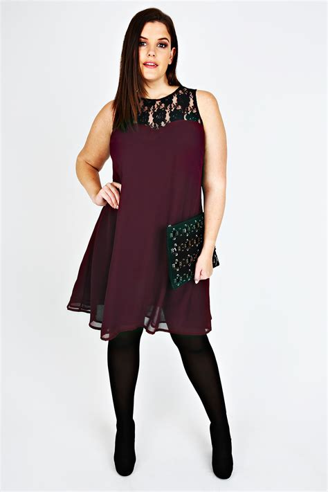 size 16 swing dress wine swing dress with black lace detail plus size 16 18 20