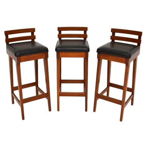 teak bar stools set of three danish teak bar stools by erik buch for