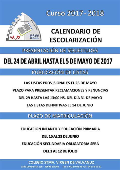 Calendario Escolar Secundaria Cantabria 2016 Colegio Virgen De Valvanuz Calendario Escolar 2016 17