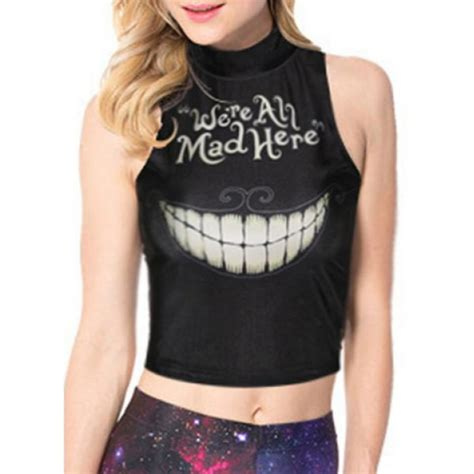 Cute Animal Mugs top halloween quote on it black crop tops goth
