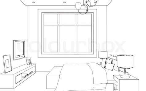 3d room drawing editable vector illustration of an outline sketch of a