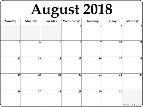 August 2018 Free Printable Blank Calendar Collection August 2018 Calendar Template