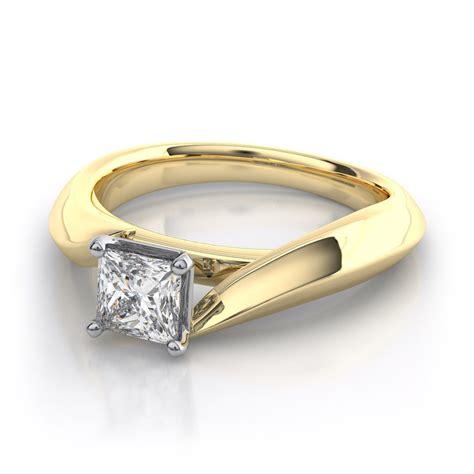 yellow gold princess cut engagement rings look beautiful