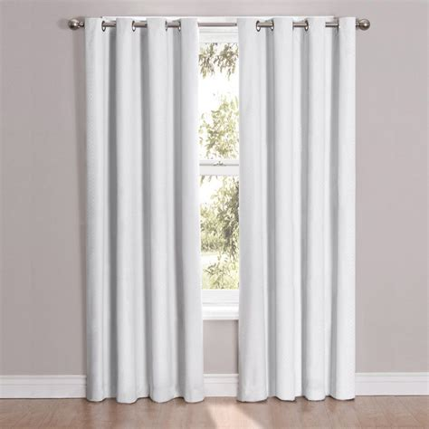 windows curtains 2 white panel microfiber room darkening blackout grommet