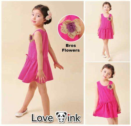 Termurah Drkd47 Dress Anak Pink Bros Flower dress daster dewasa anak karakter hello