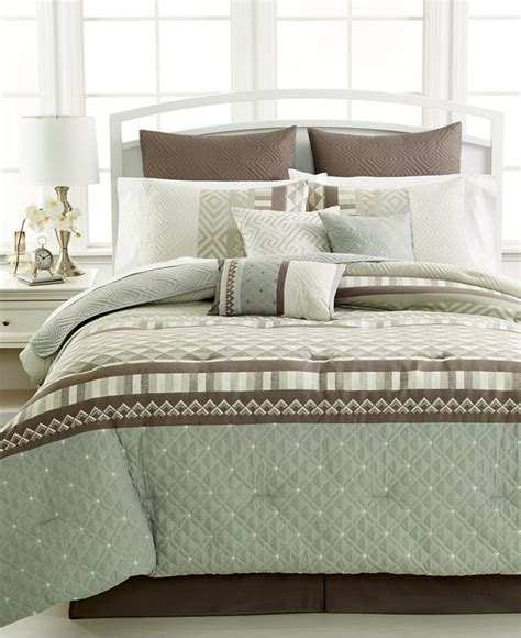 King Size Bedding Set 8 King Size 8 Pc Comforter Set Green Gray Microfiber