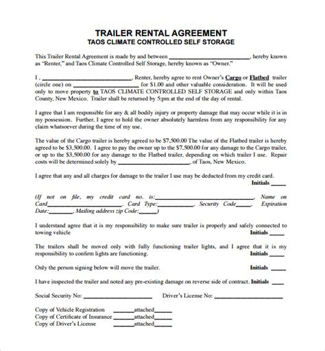 11 Trailer Rental Agreement Templates Pdf Sle Templates Trailer Lease Agreement Template