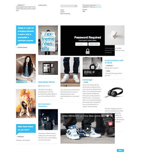 tumblr themes minimal grid 50 best free tumblr themes 2018