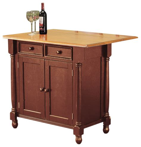 Oak Kitchen Island Cart Nutmeg Kitchen Island With Light Oak Drop Leaf Top
