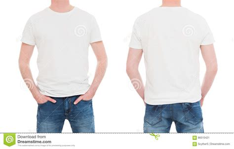 Tshirt Mens White Front front and back view tshirt template stock image image of human casual 86515421