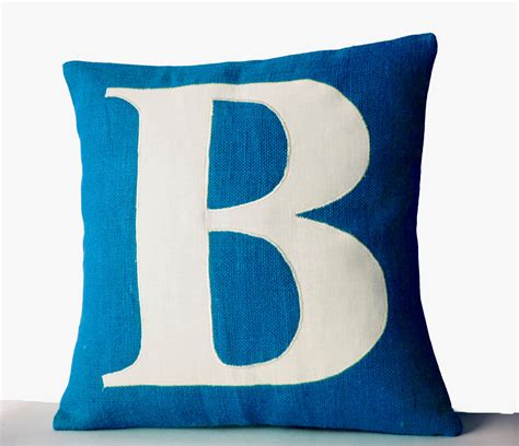 custom pillow blue pillows personalized monogram throw pillow burlap