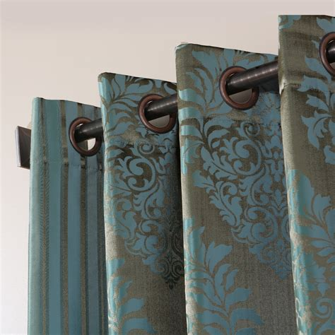 teal damask curtains wide width damask jacquard grommet curtain pair blue nile