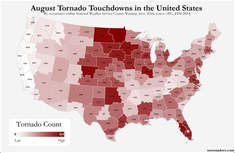 usa tornado map here s where tornadoes typically form in august across the