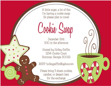 8 Best Images Of Cookie Swap Printable Invitation Template Cookie Exchange Invitations Cookie Invitations Templates