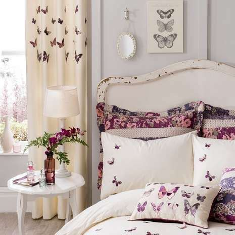 plum bedroom curtains plum flora butterfly thermal eyelet curtains living room