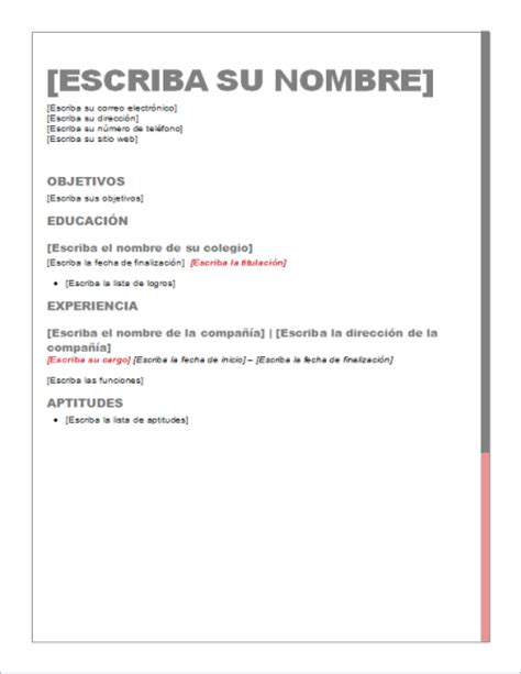 formato de curriculum vitae ejemplos car interior design