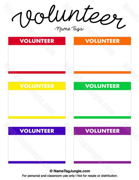 volunteer card template volunteer name tags