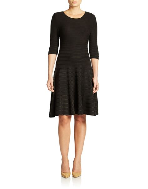 ivanka textured swing dress in black lyst