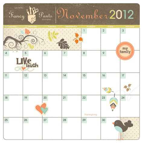 calendar design november free downloads fancy pants designs