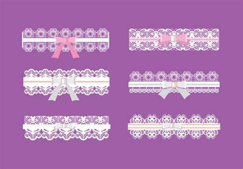 garter templates set of garter pattern with pink and white ribbon