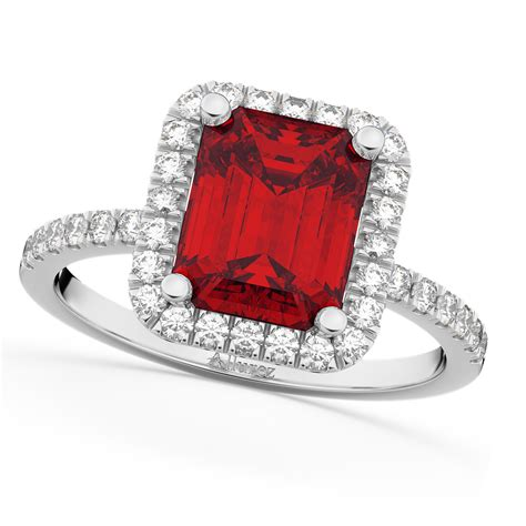 Ruby 4 75 Ct ruby engagement ring 14k white gold 3 32ct