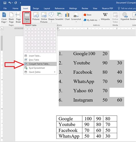 how to convert table to text in word learn things how to convert text to table in ms word