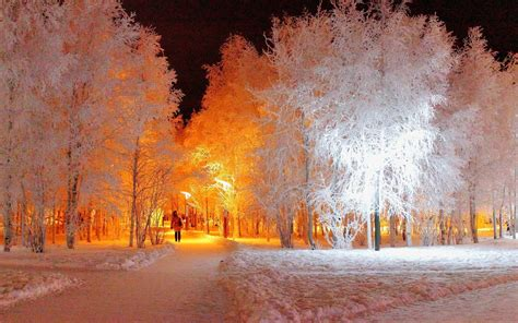 Walking Into The Golden Snow Light Wallpaper 39567 Lights And Snow