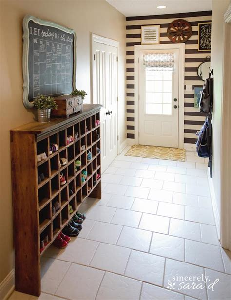 how to build a shoe organizer for entryway organized mudroom the stripes and the shoe