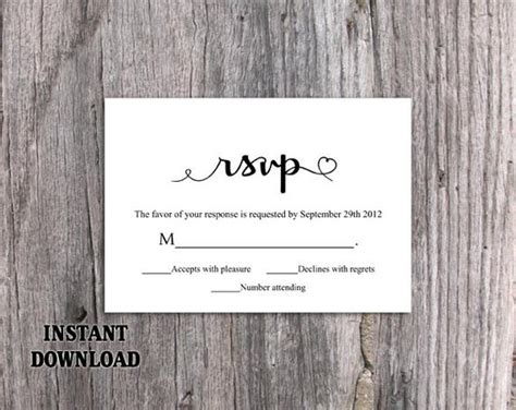 Diy Wedding Rsvp Template Editable Word By Thedesignsenchanted Rsvp Postcard Template