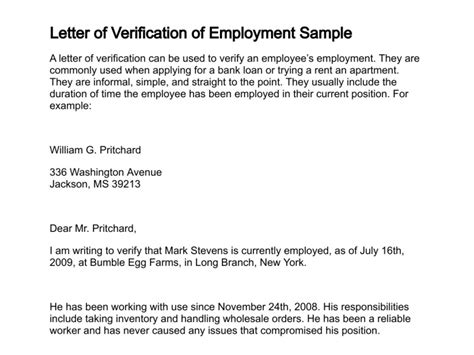 Verification Of Employment Letter For A Loan Letter Of Verification
