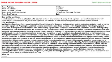 marine engineer cover letter