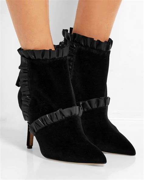 christopher leather trimmed velvet ankle boots