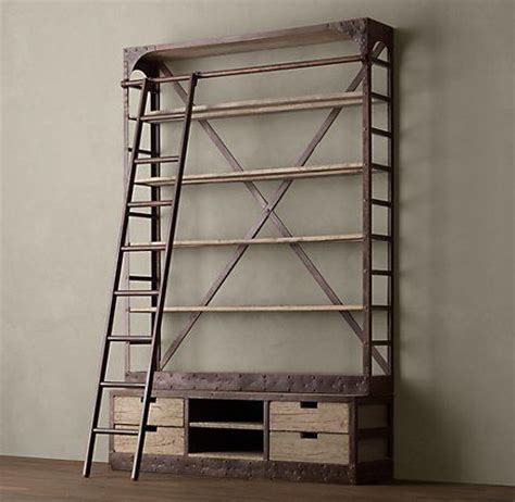 Bookcase Ladder Hardware I Can T Afford Restoration Hardware S 1950 S Shipyard Shelving 3295 But That Doesn T
