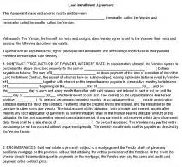 Land Template by Land Installment Agreement Template