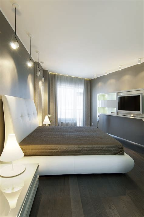 bedroom cool palette warm accents pendant style lighting interior design ideas