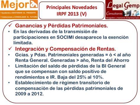 tributacin en el irpf 2013 de las ganancias patrimoniales ii ponencia del programa mejora cumpliendo con la