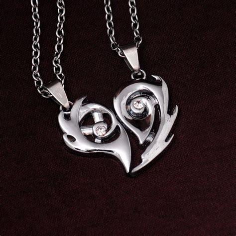 cadenas para novios pareja de cadenas con dije de corazon amor novios acero