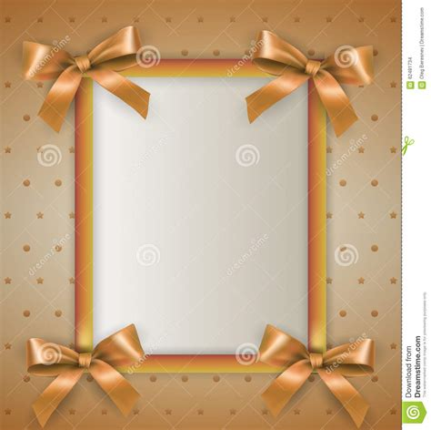 background with bow cream frame stock vector image 62481734
