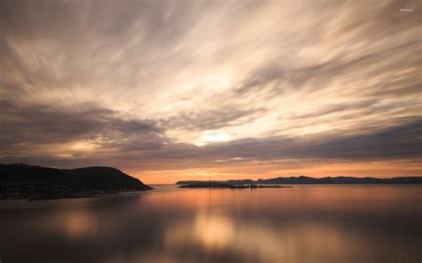 beautiful lake beautiful sky beautiful sunset sky above the small island wallpaper