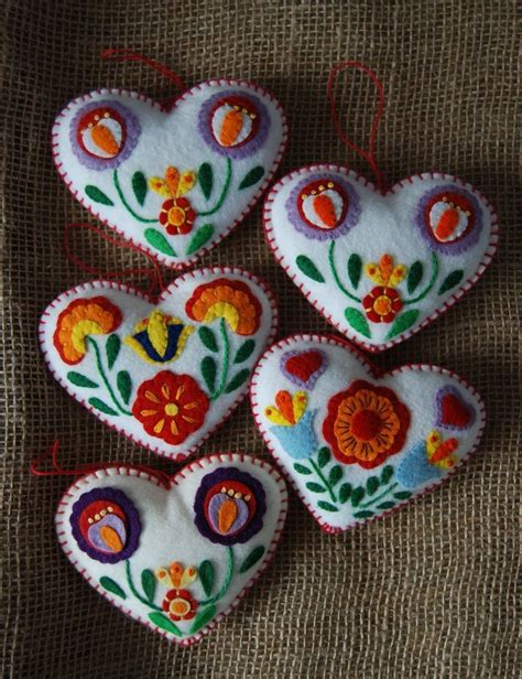 lot 5 handmade scandanavian applique felt heart christmas