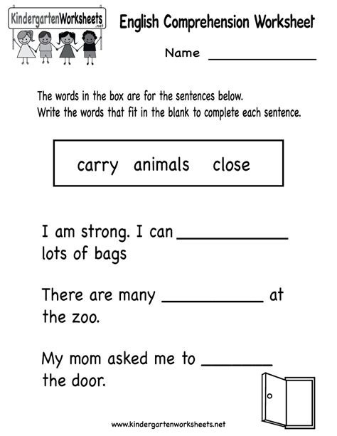 free printable english reading worksheets for kindergarten kindergarten english comprehension worksheet printable