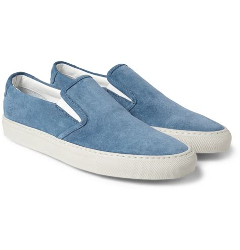by common projects sneakers common projects suede slipon sneakers in blue for lyst