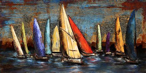 zeilboot op zee metalen 3d schilderij quot zeilboten op zee quot te koop