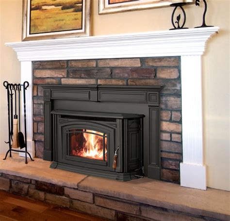 i like this pellet stove with a mantel basement ideas